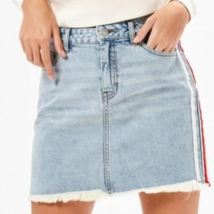 Kendall & Kylie Red Side-Stripe Denim Mini Skirt